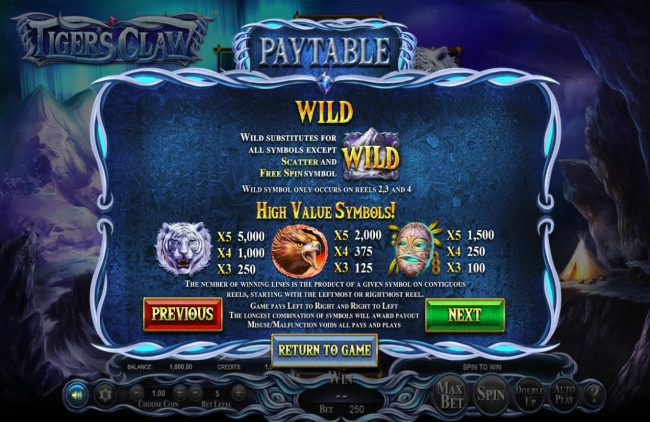 Winner Million featuring the Video Slots Tigers Claw with a maximum payout of $800,000
