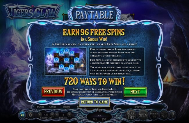 7Kasino featuring the Video Slots Tigers Claw with a maximum payout of $800,000