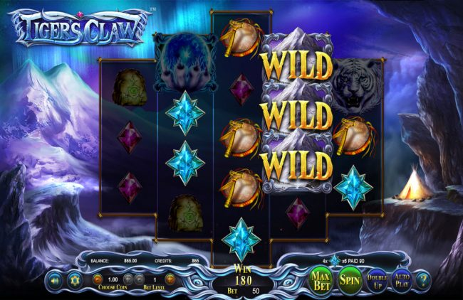 Realis featuring the Video Slots Tigers Claw with a maximum payout of $800,000