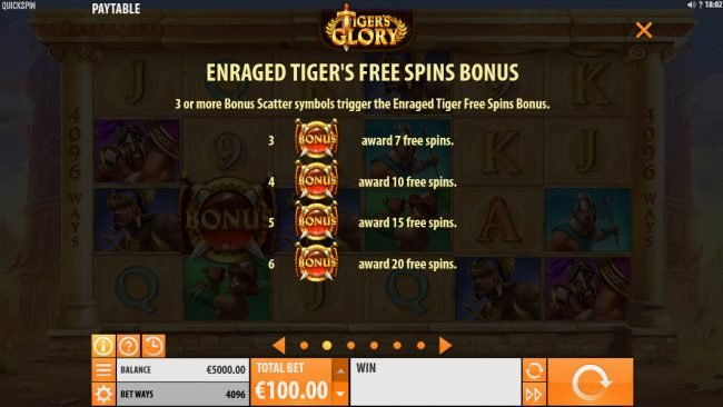 Conquer featuring the Video Slots Tiger's Glory with a maximum payout of $120,000