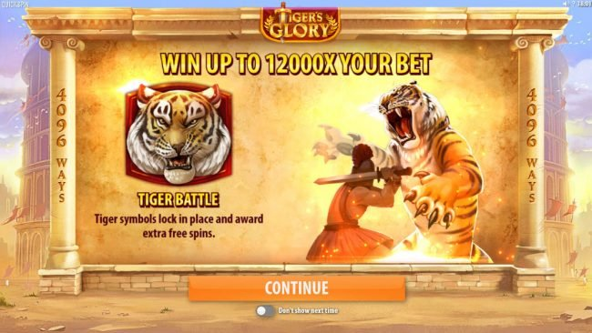 Play slots at Megaslot: Megaslot featuring the Video Slots Tiger's Glory with a maximum payout of $120,000