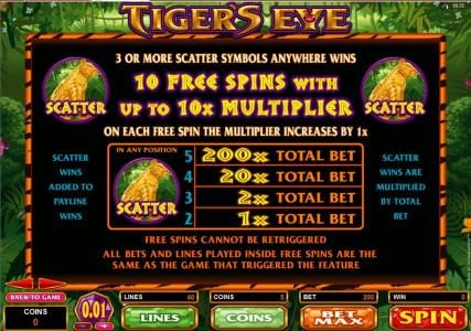 Dreamy 7 featuring the Video Slots Tiger's Eye with a maximum payout of $250
