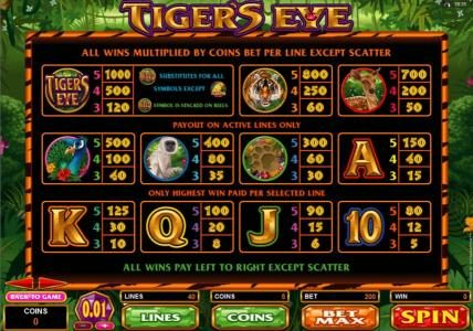 Phoenician featuring the Video Slots Tiger's Eye with a maximum payout of $250