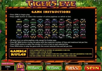 Play slots at UK Casino Club: UK Casino Club featuring the Video Slots Tiger's Eye with a maximum payout of $250