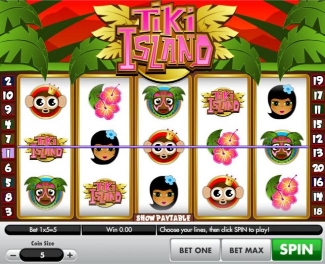 A tropical island themed main game board featuring five reels and 25 paylines with a $100,000 max payout
