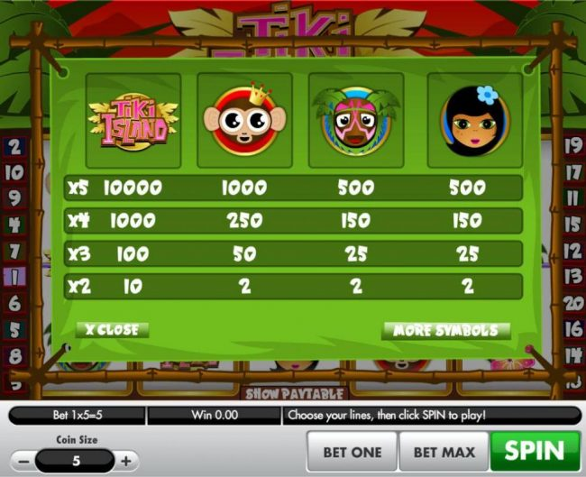High value slot game symbols paytable featuring tropical island inspired icons.