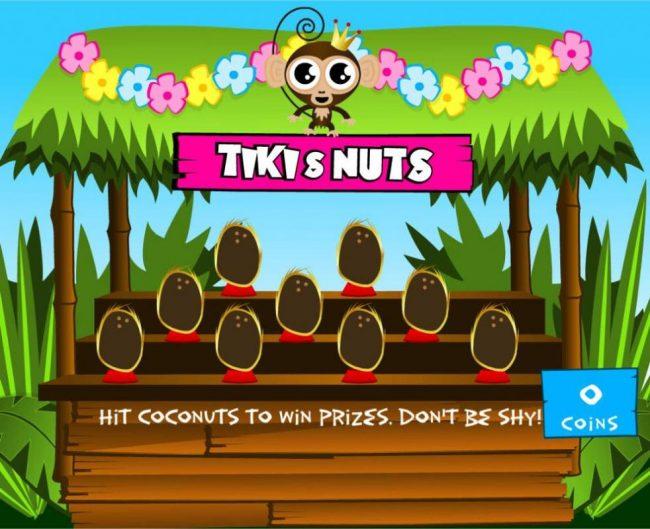 Coconut Bonus Game Board. Hit coconuts to win prizes.