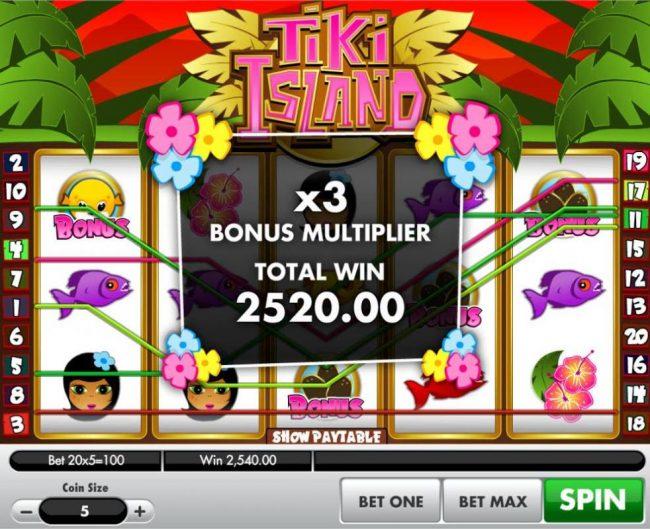 Bonus game play awards a 2,520.00 total prize amount.