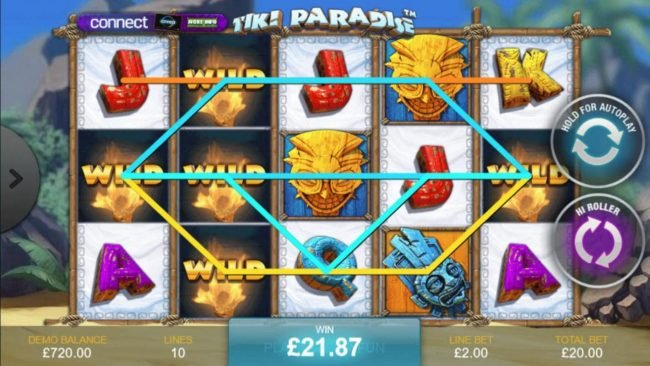 21 Nova featuring the Video Slots Tiki Paradise with a maximum payout of $25,000
