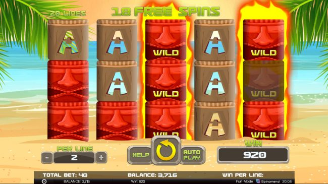 Tiki Rainbow :: Stacked wilds triggers a mega win during the free spins feature