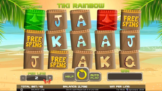 Tiki Rainbow :: Scatter win triggers the free spins feature