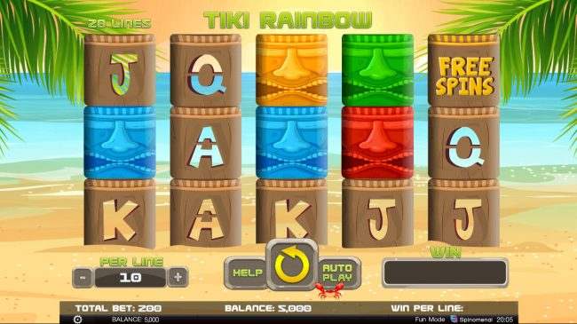 888 Tiger featuring the Video Slots Tiki Rainbow with a maximum payout of $14,000