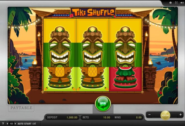 Reel Vegas featuring the Video Slots Tiki Shuffle with a maximum payout of $9,000