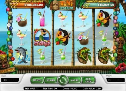 7 Gods Casino featuring the Video Slots Tiki Wonders with a maximum payout of $20,000