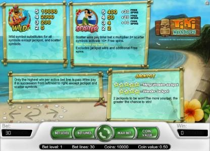 Guru Play featuring the Video Slots Tiki Wonders with a maximum payout of $20,000