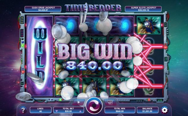 Gossip Slots featuring the Video Slots Time Bender with a maximum payout of $4,800