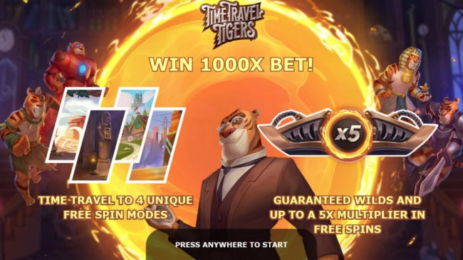 Play slots at Intercasino: Intercasino featuring the Video Slots Time Travel Tigers with a maximum payout of $93,750
