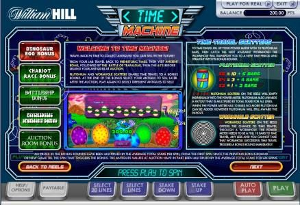 Fly Casino featuring the Video Slots Time Machine with a maximum payout of $100,000