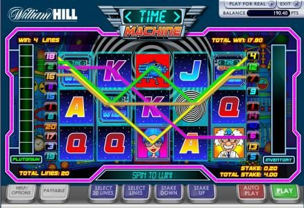 Time Machine :: here is an example of four payline jackpot