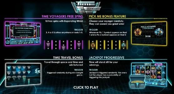 This game features Time Voyagers Free Spins, Pick Me Bonus Feature, Time Travel Bonus and a Jackpot progressive