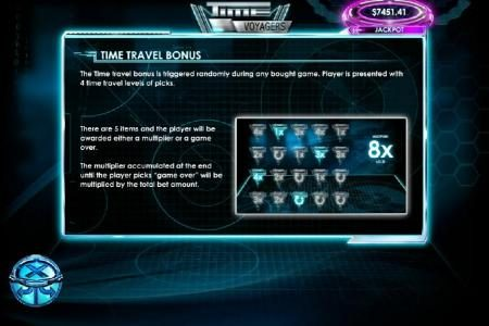 The Time Travel bonus is triggered randomly during any bought game. Player is presented with 4 time travel levels of picks.