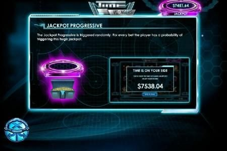 Jackpot progressive is triggered randomly. For every bet the player has a probability of triggering this huge jackpot.