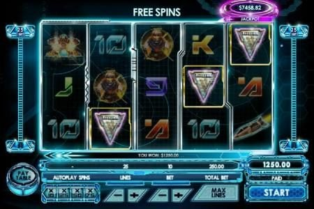 Three chevron shield symbols triggers free spins.