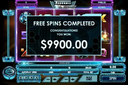 The free spins feature pays out a total of $9,900 for an epic win!