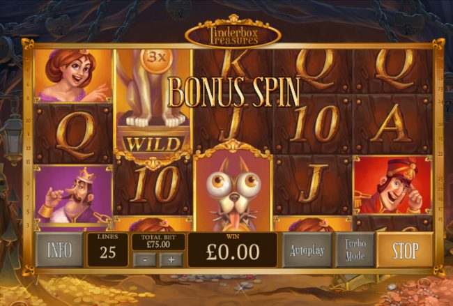 King Solomons featuring the Video Slots Tinderbox Treasure with a maximum payout of $18,750