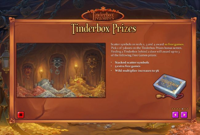 Supercasino featuring the Video Slots Tinderbox Treasure with a maximum payout of $18,750