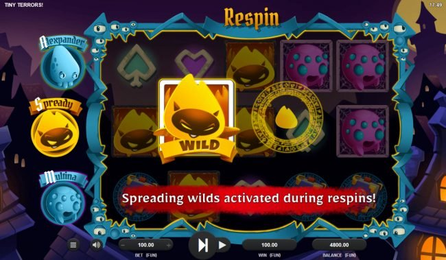 Tiny Terrors :: Spready turns into a wild symbol and respins the reels