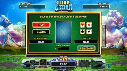 Euro King featuring the Video Slots Titan Storm with a maximum payout of $4,000