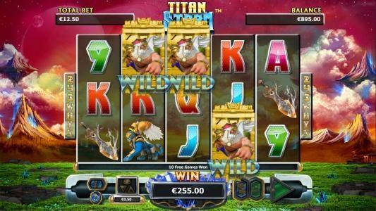 Three Titan wild symbols triggers an additional 10 free games