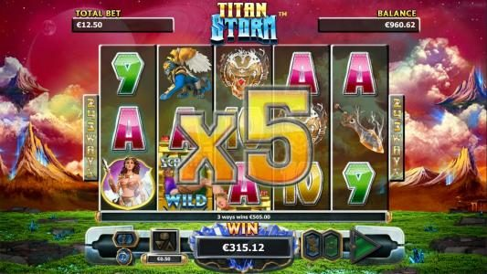 A five of a kind triggers the x5 multiplier for a big line win!