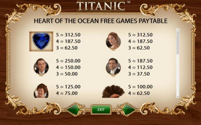 Heart of the Ocean Free Games Feature Paytable - High Value Symbols