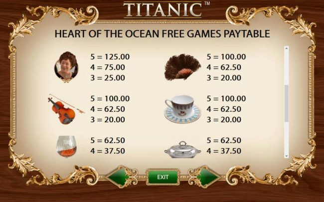 Heart of the Ocean Free Games Feature Paytable - Medium Value Symbols