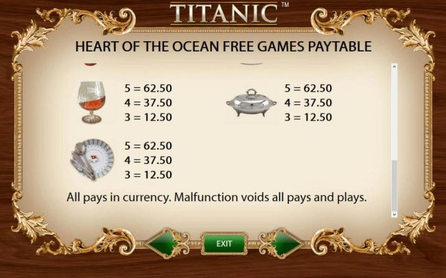 Heart of the Ocean Free Games Feature Paytable - Low Value Symbols