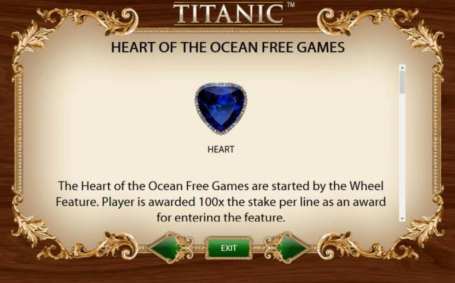 Heart of the Ocean Free Games Feature are started by the Wheel Feature.