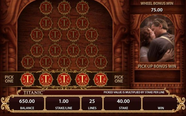 Pick feature Game Board - Make a selection from the one of the Titanic emblems to reveal a prize award.