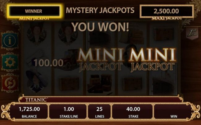 The Mini Jackpot is awarded and a 500.00 prize is added to the balance.