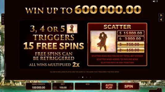Titans of the Sun - Theia :: Win up to 600,000.00 3, 4 or 5 LOVER scatter symbols triggers 15 free spins. Free spins can be re-triggered. All wins multiplied by 2x.