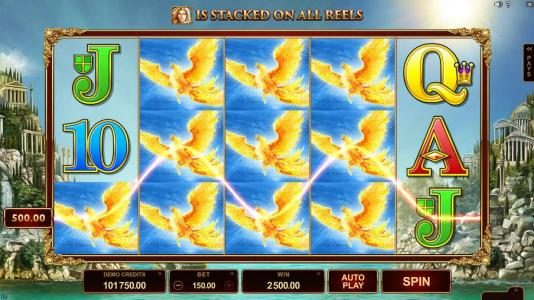 Titans of the Sun - Theia :: Mystery feature reveals stacked Pegasus symbols triggering multiple winning paylines and a 2,500 big win!