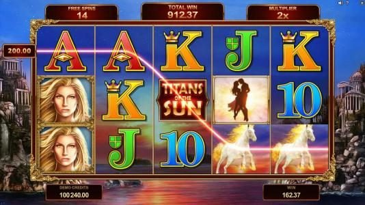 Titans of the Sun - Theia :: Free spins game board. All wins during free spins are multiplied by 2x.