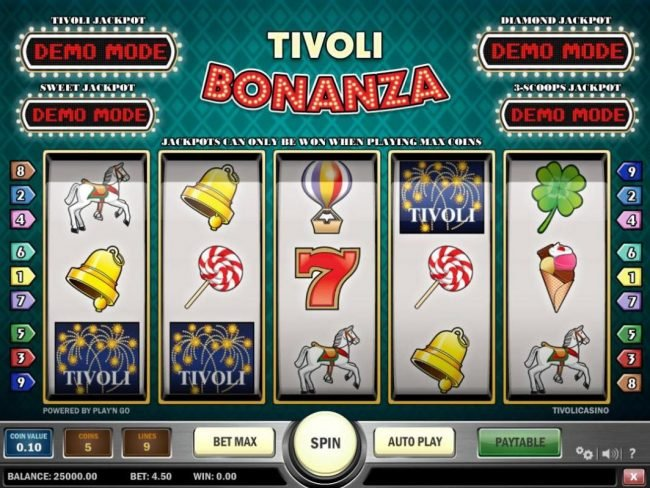 Play slots at 1X Slots: 1X Slots featuring the Video Slots Tivoli Bonanza with a maximum payout of Jackpot