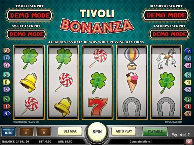 Jonny Jackpot featuring the Video Slots Tivoli Bonanza with a maximum payout of Jackpot