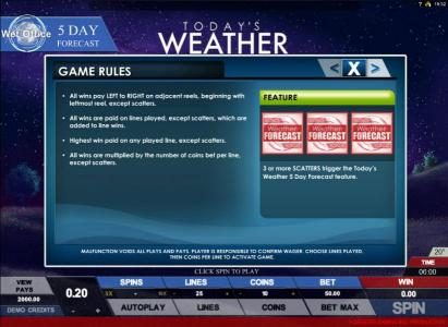 Mr Green featuring the Video Slots Today's Weather with a maximum payout of $4,000
