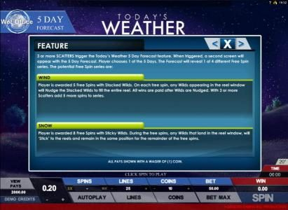 Omnia featuring the Video Slots Today's Weather with a maximum payout of $4,000