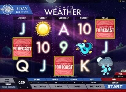 Miami Dice featuring the Video Slots Today's Weather with a maximum payout of $4,000