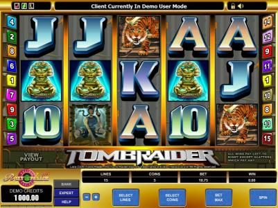 Play slots at Instacasino: Instacasino featuring the Video Slots Tomb Raider with a maximum payout of $37,500