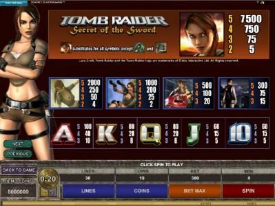 7Sultans featuring the Video Slots Tomb Raider Secret of the Sword with a maximum payout of $15,000
